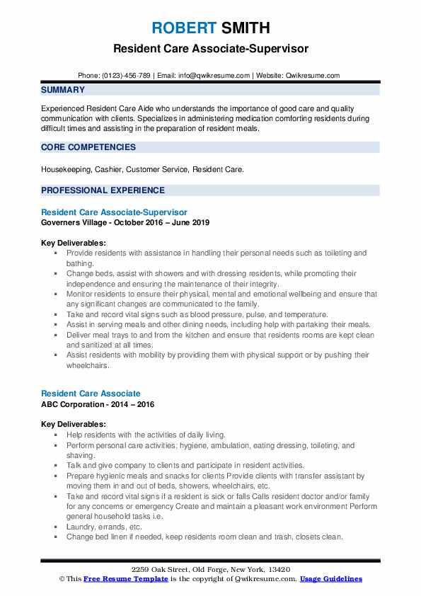 Resident Care Associate-Supervisor Resume Example