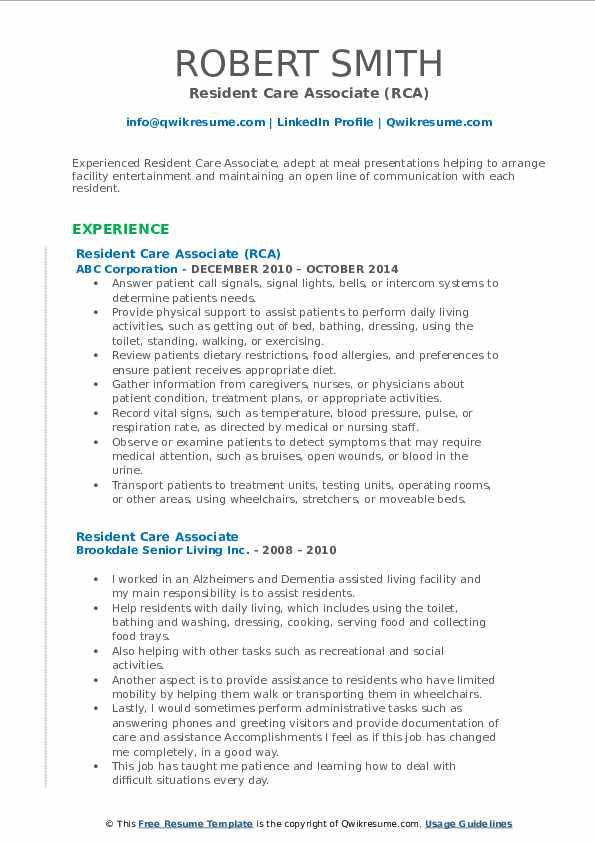 Resident Care Associate (RCA) Resume Model