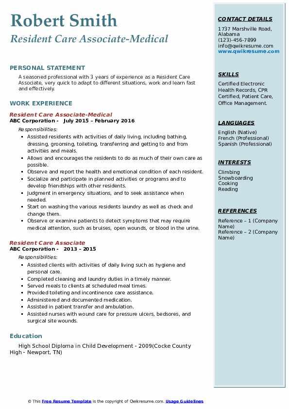 Resident Care Associate-Medical Resume Template
