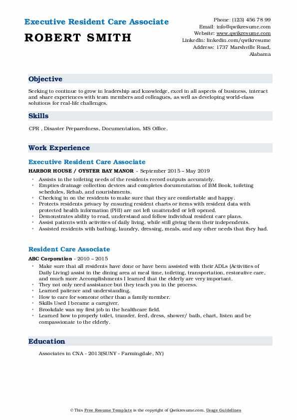 Executive Resident Care Associate Resume Model