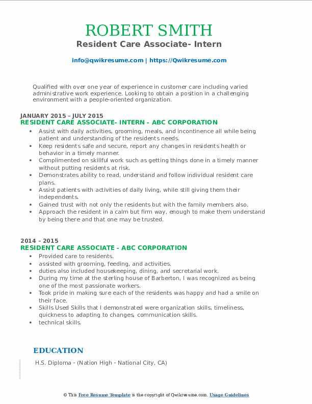 Resident Care Associate- Intern Resume Example