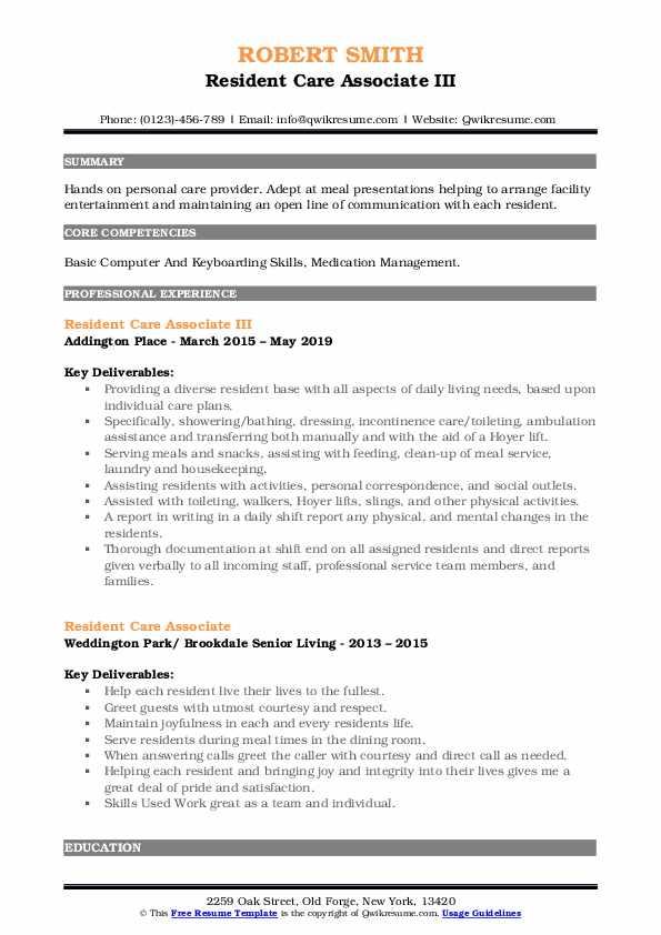 Resident Care Associate III Resume Format
