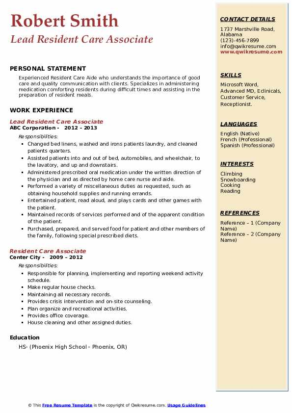 Lead Resident Care Associate Resume Example