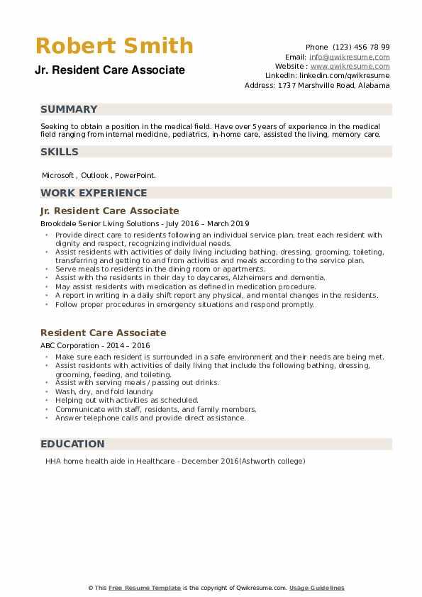 Jr. Resident Care Associate Resume Template