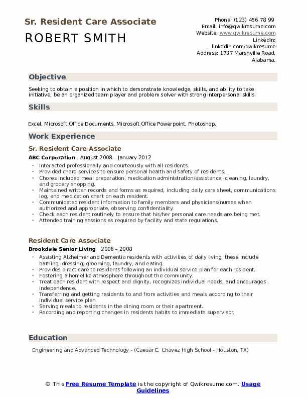 Sr. Resident Care Associate  Resume Template