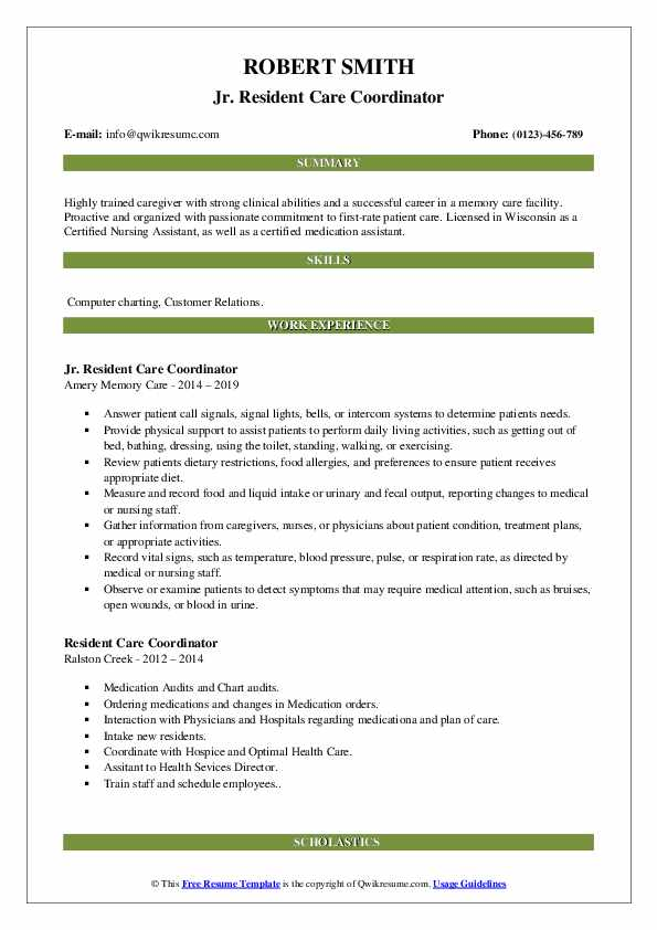 Jr. Resident Care Coordinator Resume Format