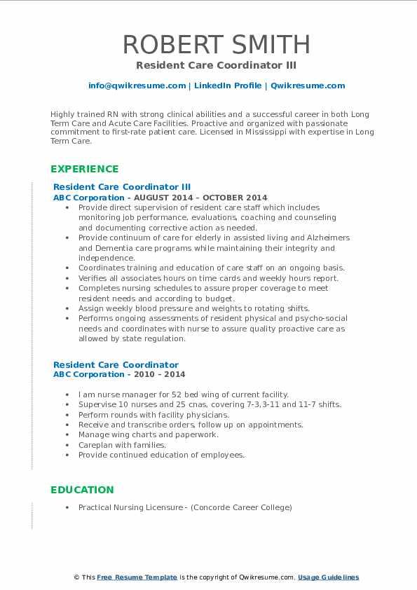 Resident Care Coordinator III Resume Template
