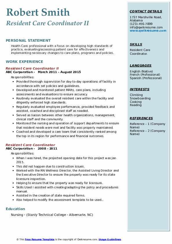 Resident Care Coordinator II Resume Template