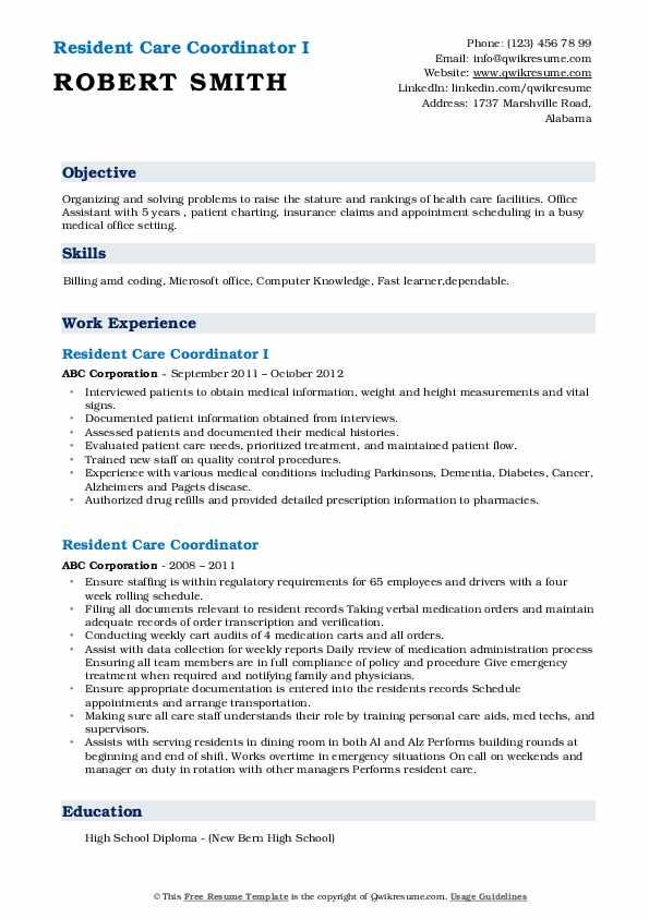 Resident Care Coordinator I Resume Sample