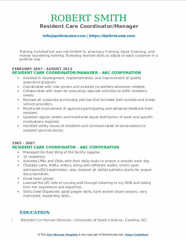 Resident Care Coordinator/Manager Resume Format