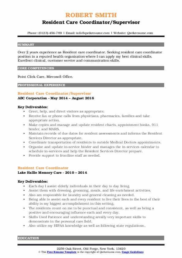 Resident Care Coordinator/Supervisor Resume Template