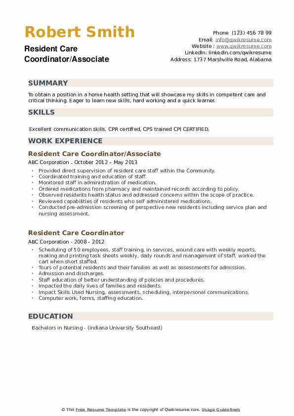 Resident Care Coordinator/Associate Resume Template