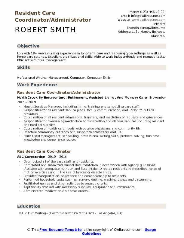 Resident Care Coordinator/Administrator Resume Model