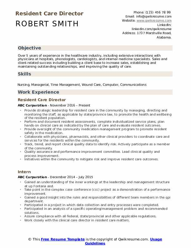 Resident Care Director Resume Format