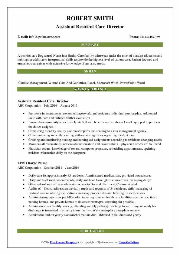 Assistant Resident Care Director Resume Sample