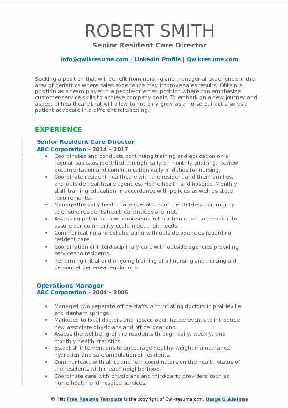 Senior Resident Care Director Resume Sample