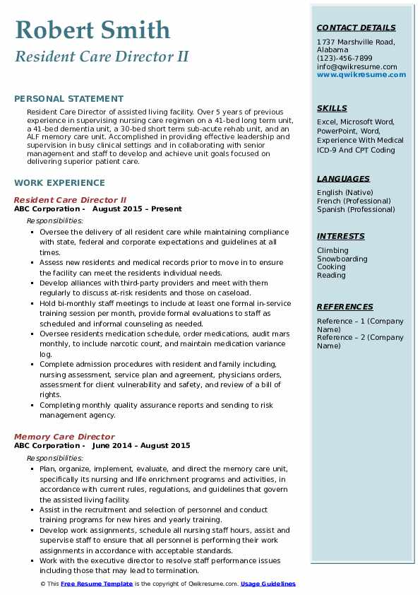Resident Care Director II Resume Sample