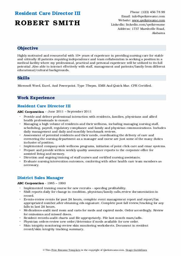 Resident Care Director III Resume Format