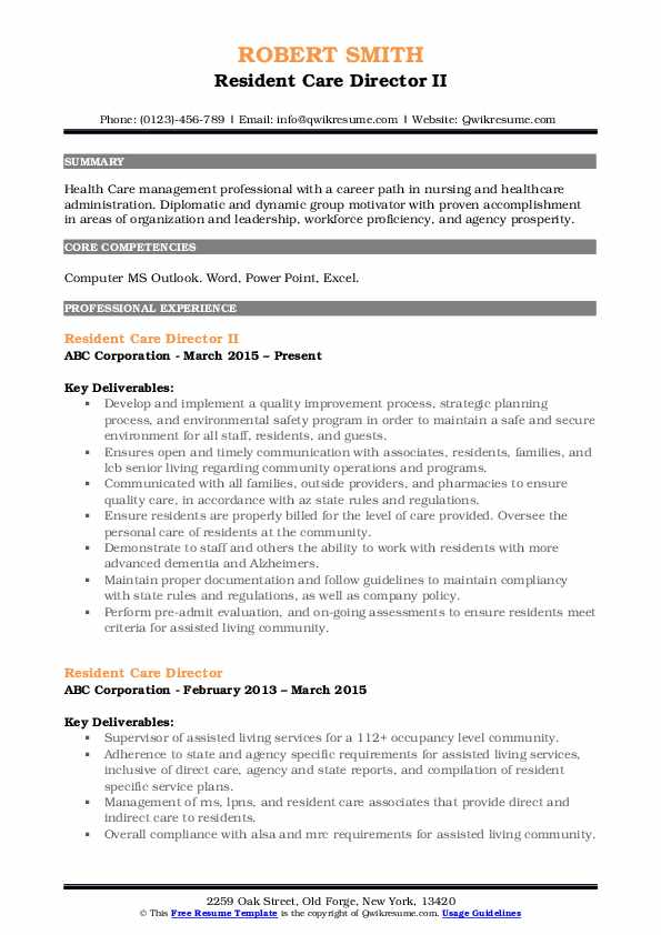 Resident Care Director II Resume Template