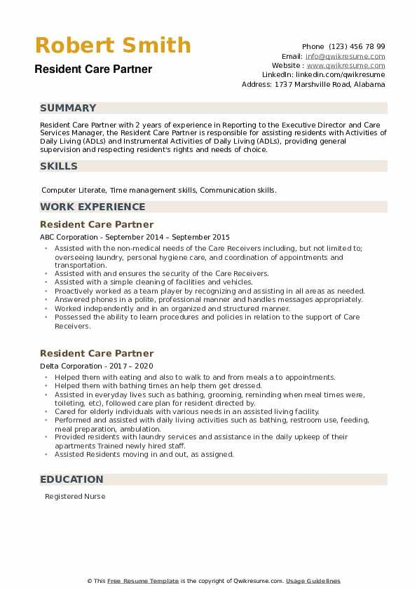 Resident Care Partner Resume example
