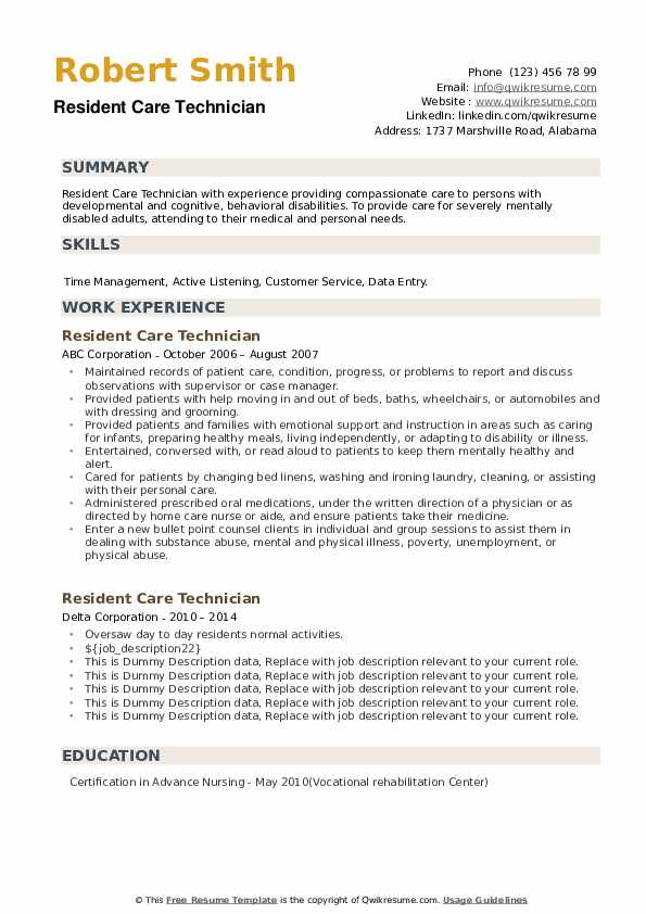 Resident Care Technician Resume example