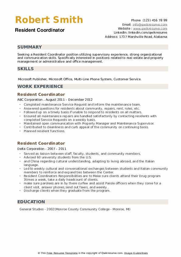 Resident Coordinator Resume example