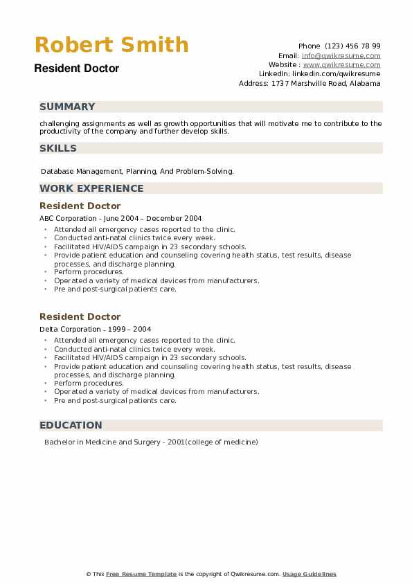 Resident Doctor Resume example