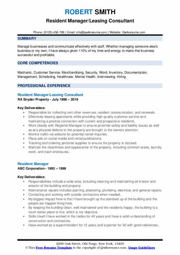 Resident Manager/Leasing Consultant Resume Sample