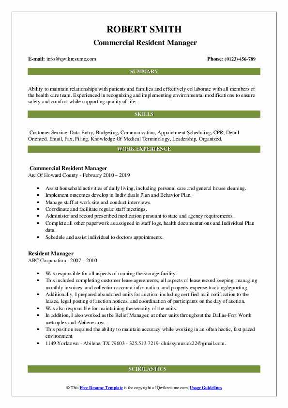 Commercial Resident Manager Resume Example
