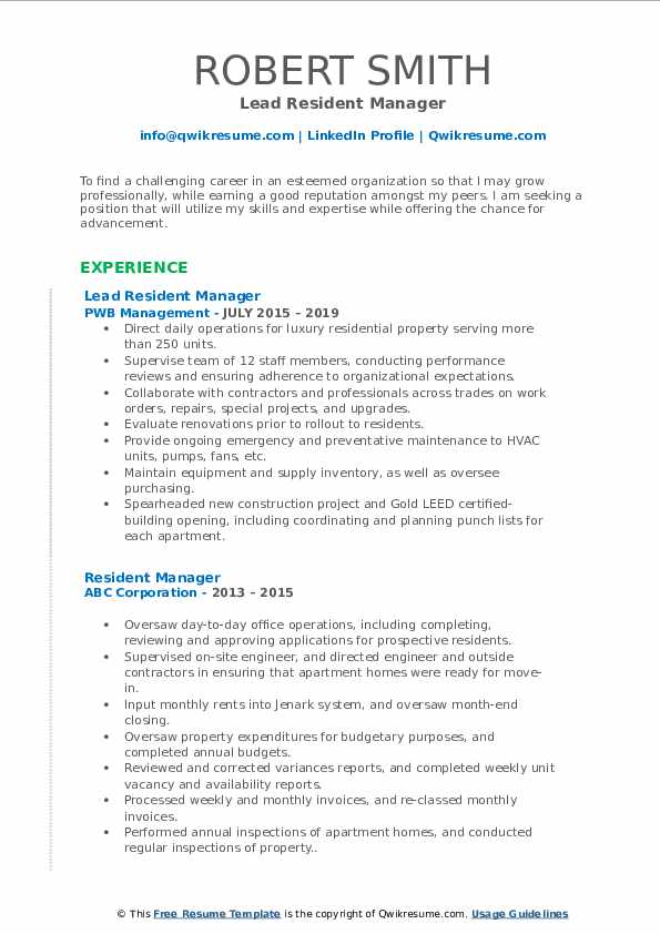 Lead Resident Manager Resume Template