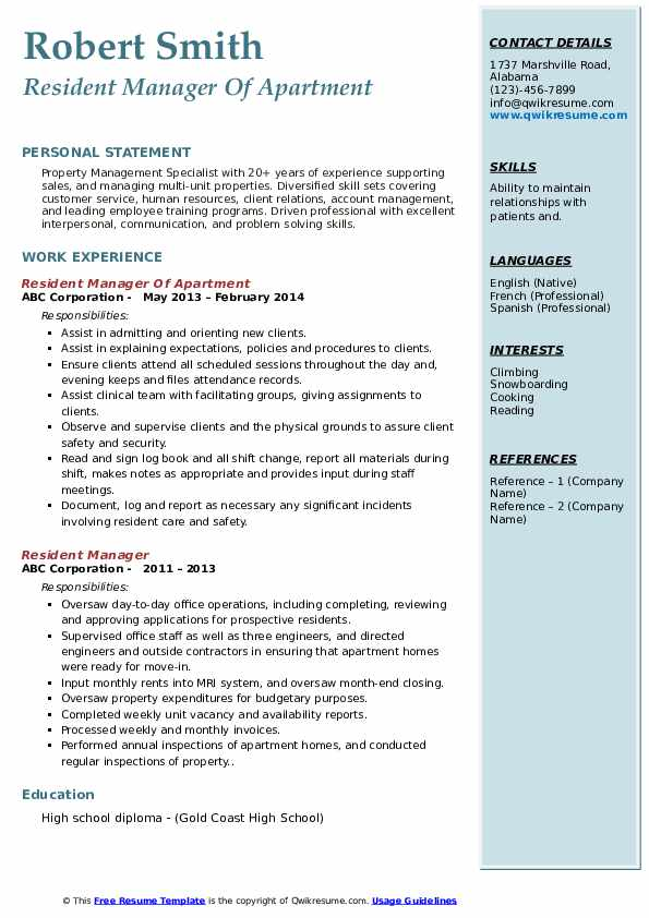 Resident Manager Of Apartment  Resume Format