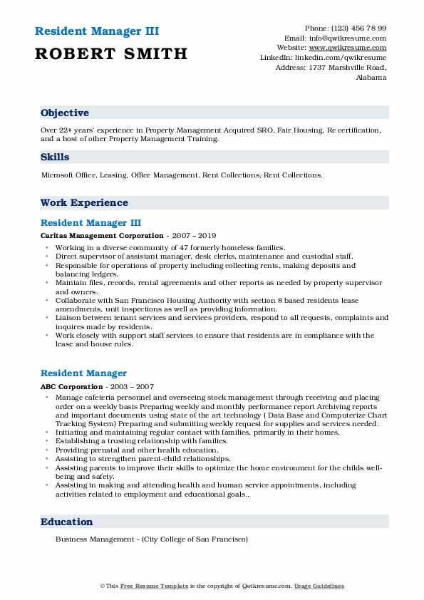 resident manager resume samples