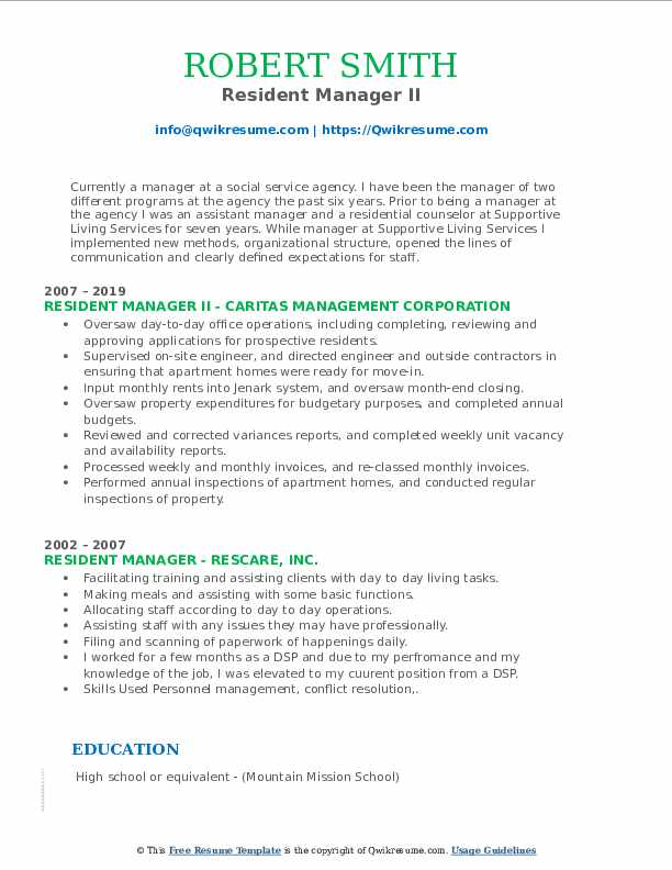 Resident Manager II Resume Example