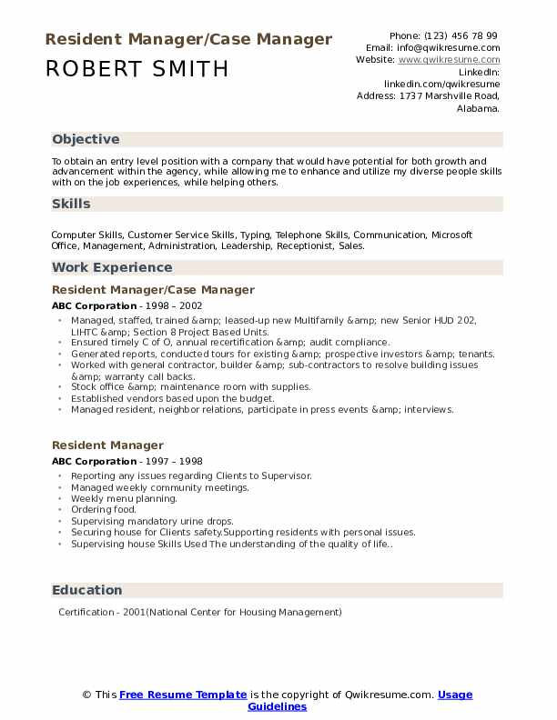 Resident Manager/Case Manager Resume Example