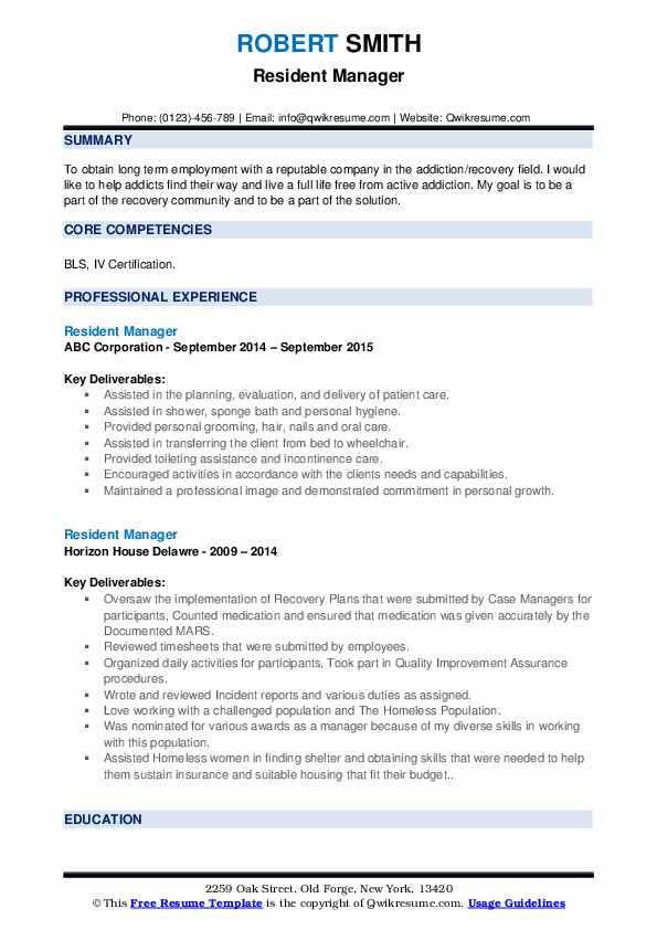 Resident Manager Resume example