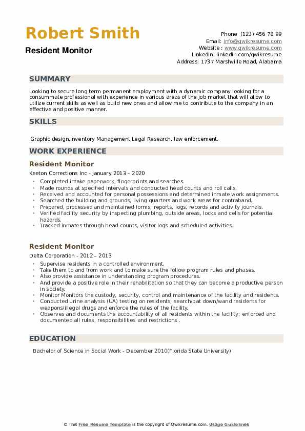 Resident Monitor Resume example