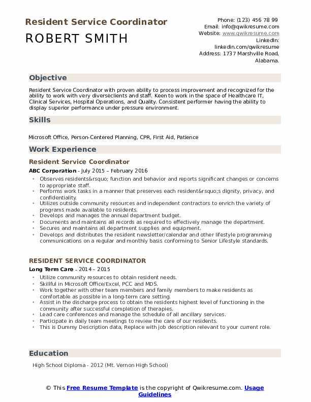 Resident Service Coordinator Resume example