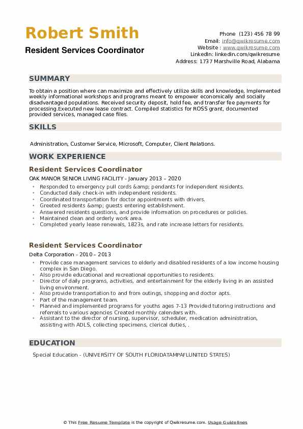 Resident Services Coordinator Resume example