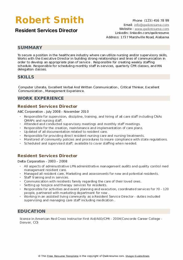 Resident Services Director Resume example