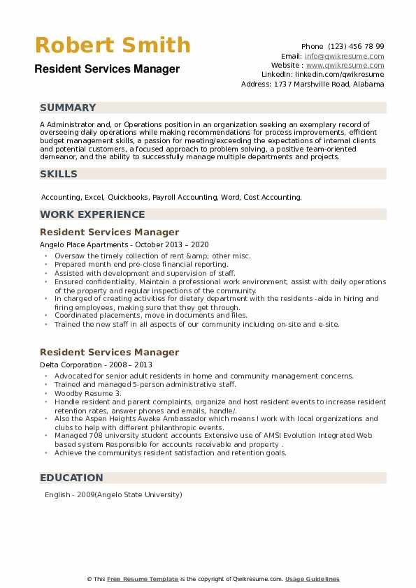 Resident Services Manager Resume example