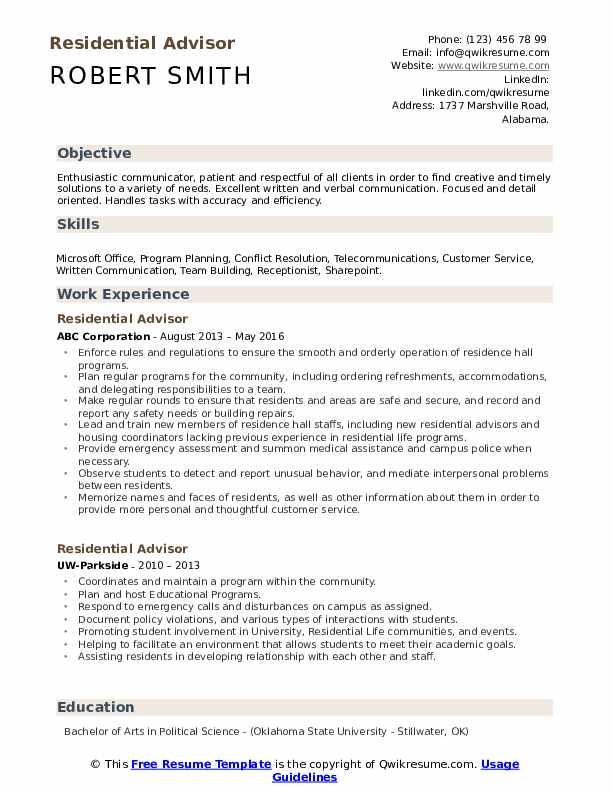 Residential Advisor Resume Format