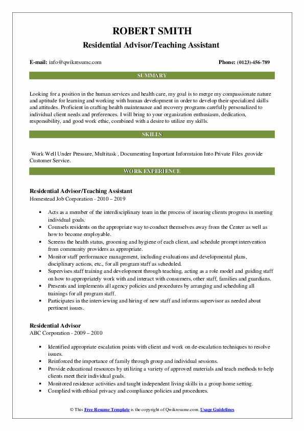 Residential Advisor/Teaching Assistant  Resume Model