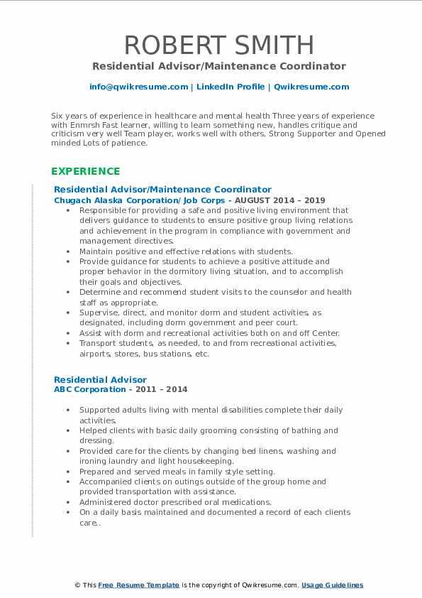 Residential Advisor/Maintenance Coordinator Resume Template