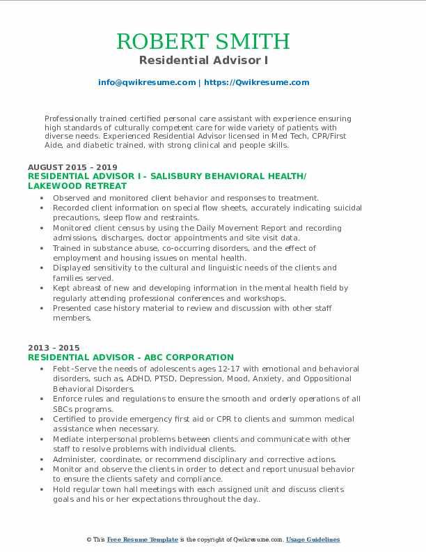 Residential Advisor I Resume Format