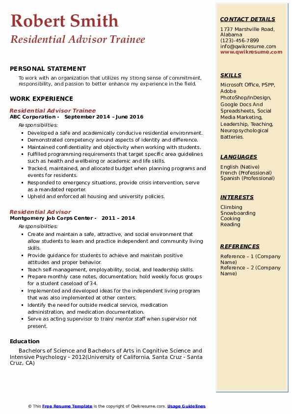 Residential Advisor Trainee Resume Example