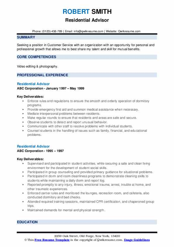 Residential Advisor Resume example