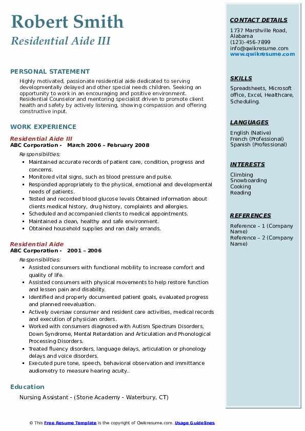 Residential Aide III Resume Example