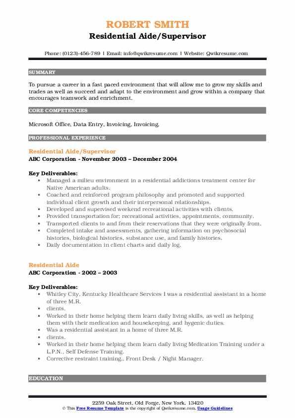Residential Aide/Supervisor Resume Model
