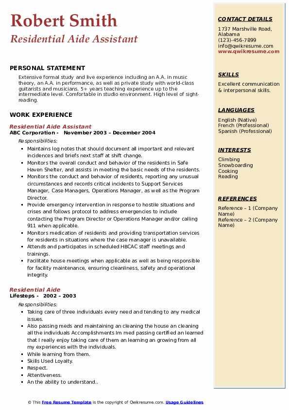 residential aide resume samples