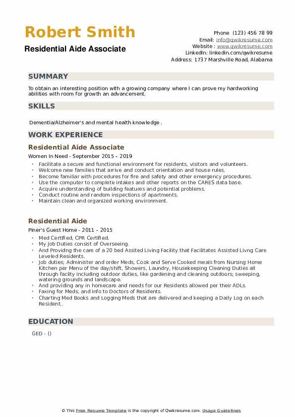 Residential Aide Associate Resume Template